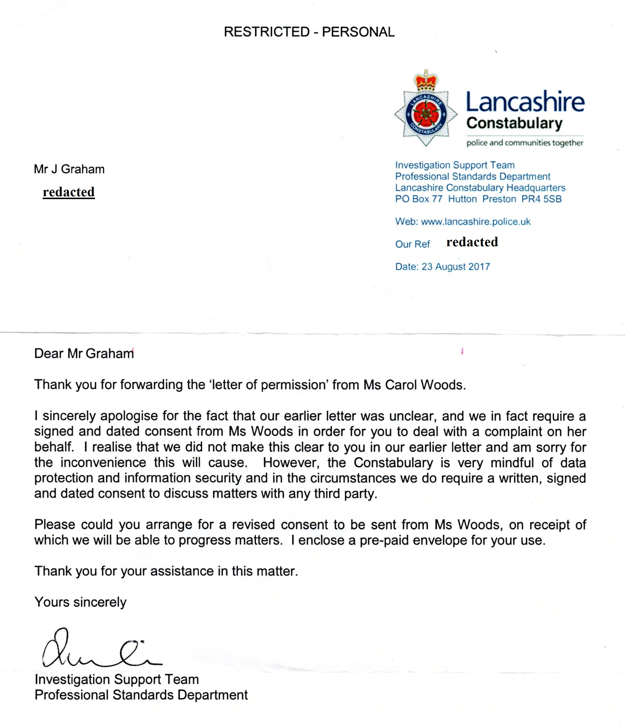 Victims of the state they cannot force a man to live in an embassy the letter of permission from carol woods dated 24 august 17 asked for by and sent 25 aug 17 to lancs police by recorded delivery 1st class royal mail altavistaventures Gallery